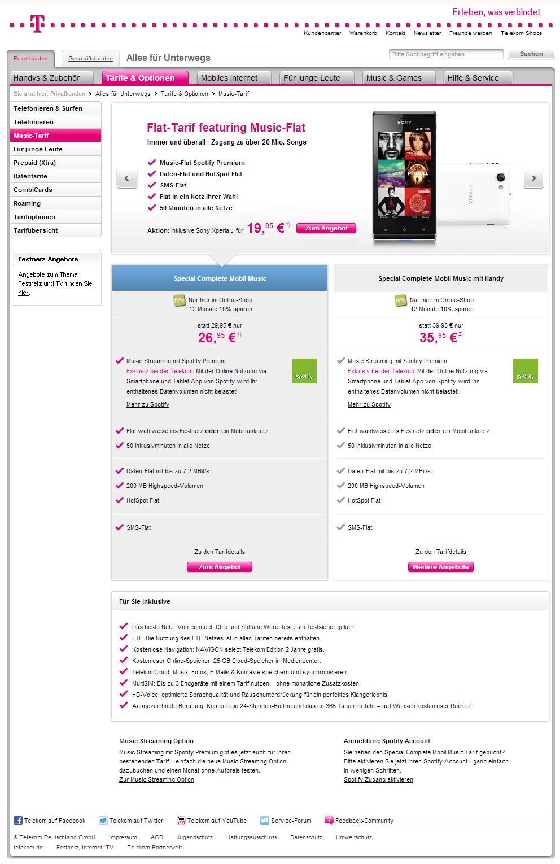 Telekom Special Complete Mobil Music Tarif